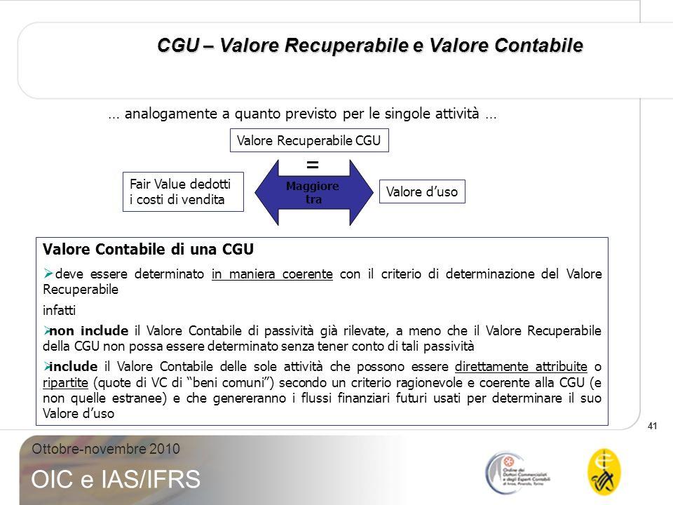 41 Ottobre-novembre 2010 OIC e IAS/IFRS … analogamente a quanto previsto per le singole attività … Valore Contabile di una CGU deve essere determinato
