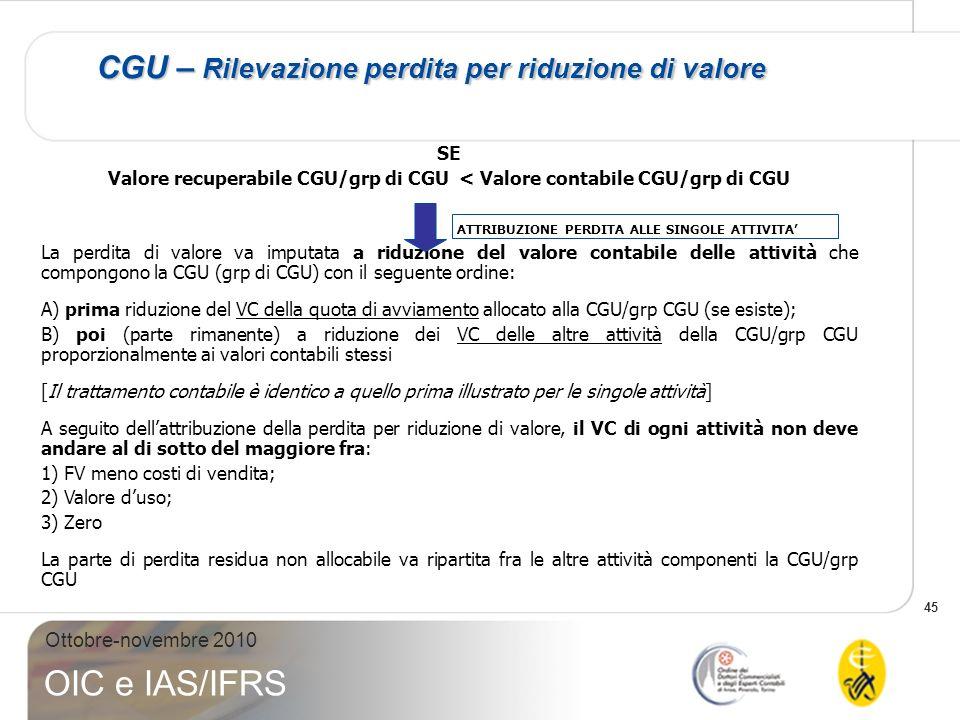 45 Ottobre-novembre 2010 OIC e IAS/IFRS CGU – Rilevazione perdita per riduzione di valore SE Valore recuperabile CGU/grp di CGU < Valore contabile CGU