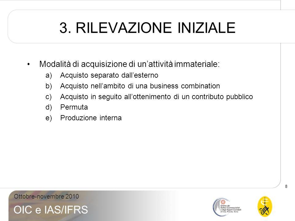 8 Ottobre-novembre 2010 OIC e IAS/IFRS 3. RILEVAZIONE INIZIALE Modalità di acquisizione di unattività immateriale: a)Acquisto separato dallesterno b)A