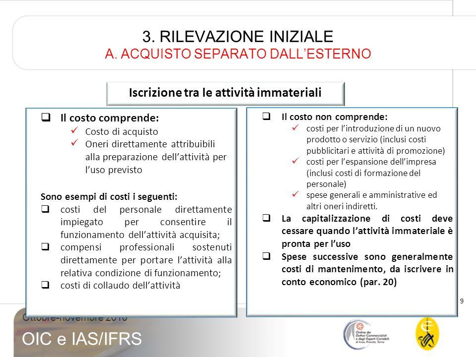 9 Ottobre-novembre 2010 OIC e IAS/IFRS 3. RILEVAZIONE INIZIALE A. ACQUISTO SEPARATO DALLESTERNO Il costo comprende: Costo di acquisto Oneri direttamen