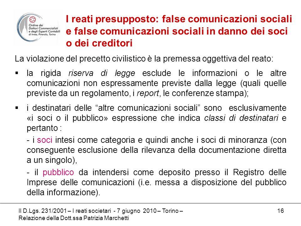 16 La violazione del precetto civilistico è la premessa oggettiva del reato: la rigida riserva di legge esclude le informazioni o le altre comunicazio