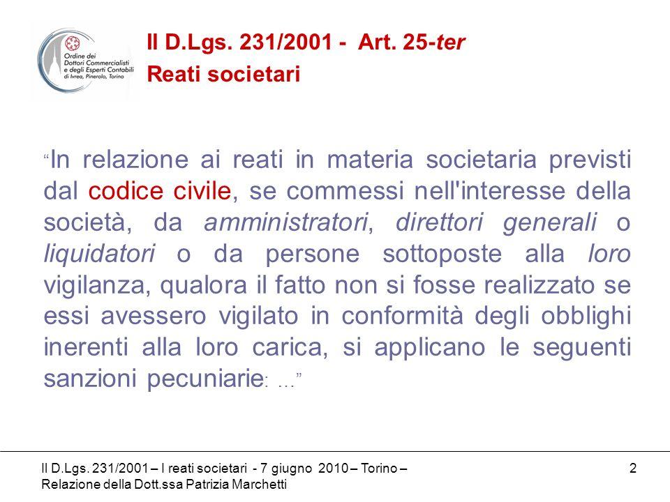 3 I reati societari di cui alla codificazione civile (artt.