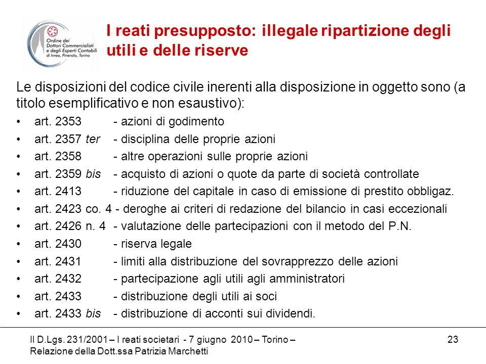 23 Le disposizioni del codice civile inerenti alla disposizione in oggetto sono (a titolo esemplificativo e non esaustivo): art. 2353 - azioni di godi