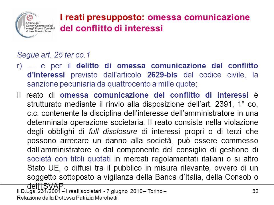 32 Segue art. 25 ter co.1 r) … e per il delitto di omessa comunicazione del conflitto d'interessi previsto dall'articolo 2629-bis del codice civile, l