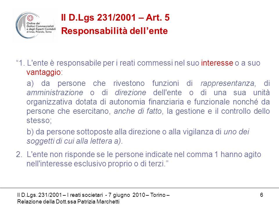 7 I SOGGETTI ATTIVI DI PARTE GENERALE - Art.5 D.Lgs 231/01 Lart.