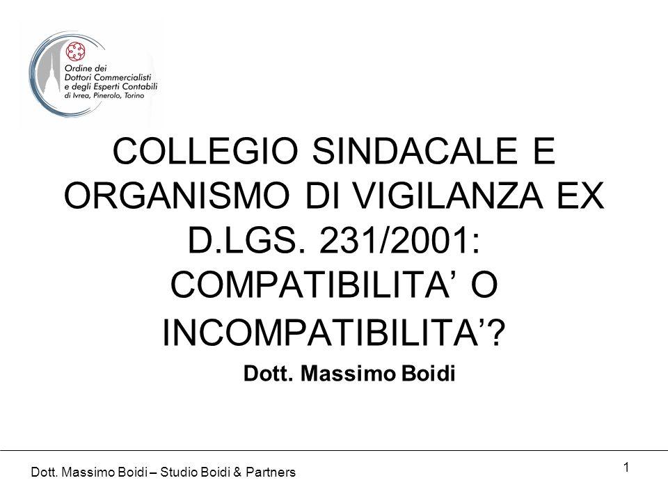 1 COLLEGIO SINDACALE E ORGANISMO DI VIGILANZA EX D.LGS. 231/2001: COMPATIBILITA O INCOMPATIBILITA? Dott. Massimo Boidi Dott. Massimo Boidi – Studio Bo