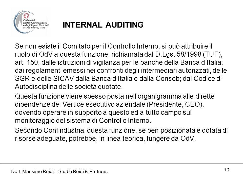 10 Se non esiste il Comitato per il Controllo Interno, si può attribuire il ruolo di OdV a questa funzione, richiamata dal D.Lgs. 58/1998 (TUF), art.