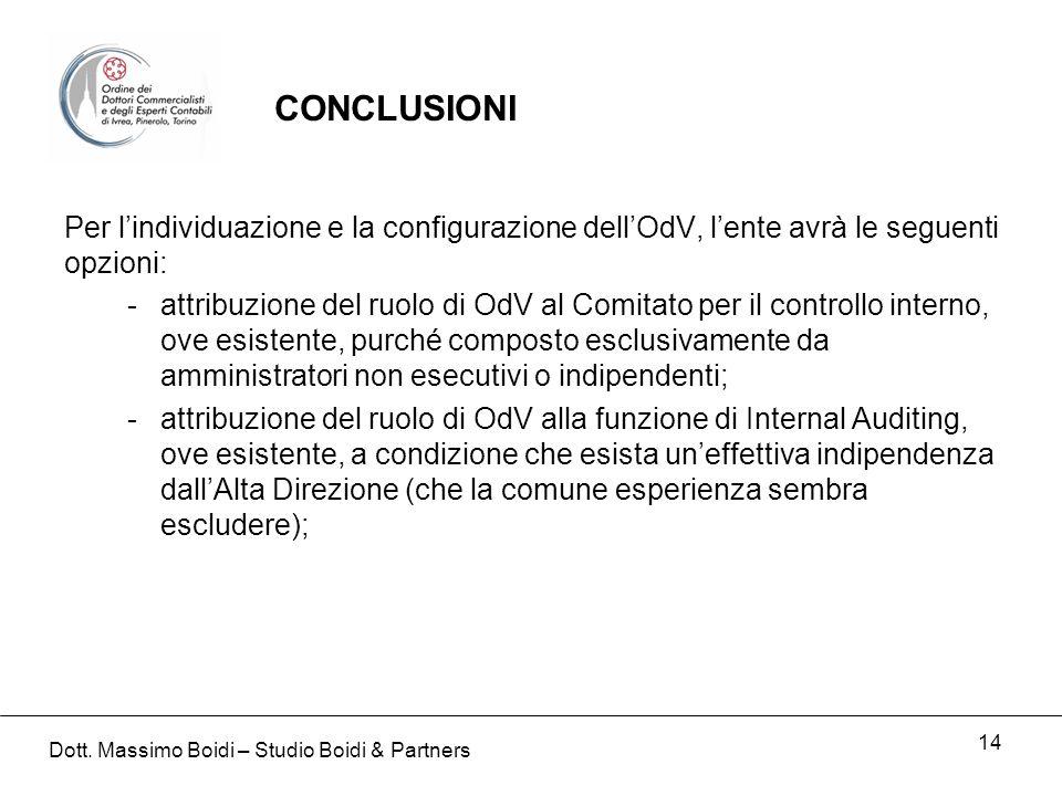 14 Per lindividuazione e la configurazione dellOdV, lente avrà le seguenti opzioni: -attribuzione del ruolo di OdV al Comitato per il controllo intern