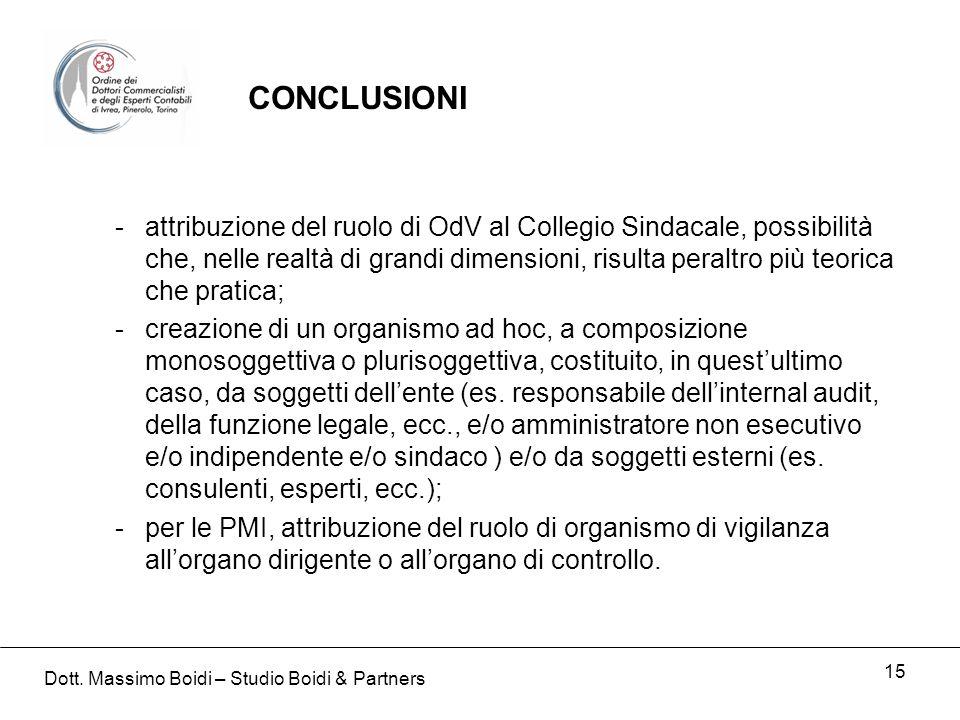 15 -attribuzione del ruolo di OdV al Collegio Sindacale, possibilità che, nelle realtà di grandi dimensioni, risulta peraltro più teorica che pratica;