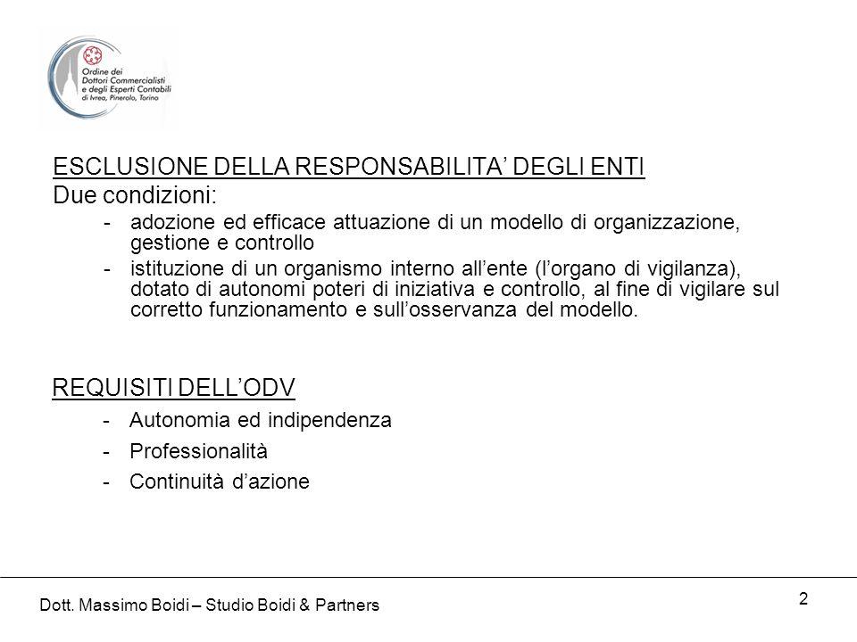 2 ESCLUSIONE DELLA RESPONSABILITA DEGLI ENTI Due condizioni: -adozione ed efficace attuazione di un modello di organizzazione, gestione e controllo -i