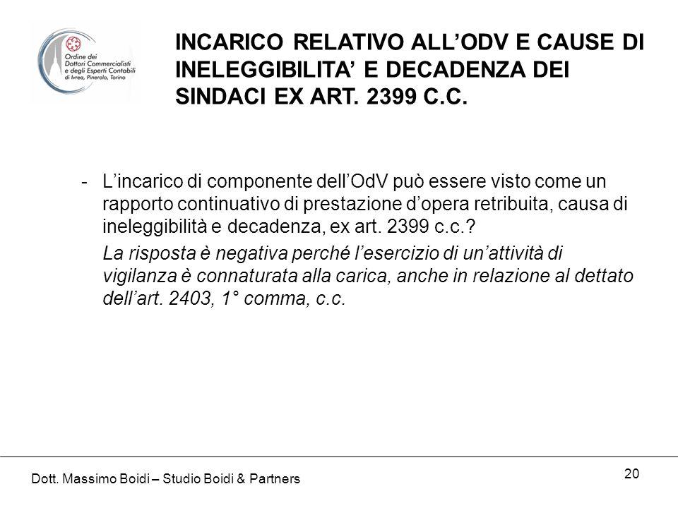 20 INCARICO RELATIVO ALLODV E CAUSE DI INELEGGIBILITA E DECADENZA DEI SINDACI EX ART. 2399 C.C. -Lincarico di componente dellOdV può essere visto come