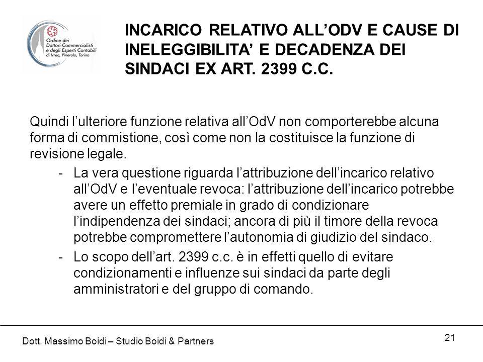 21 INCARICO RELATIVO ALLODV E CAUSE DI INELEGGIBILITA E DECADENZA DEI SINDACI EX ART.