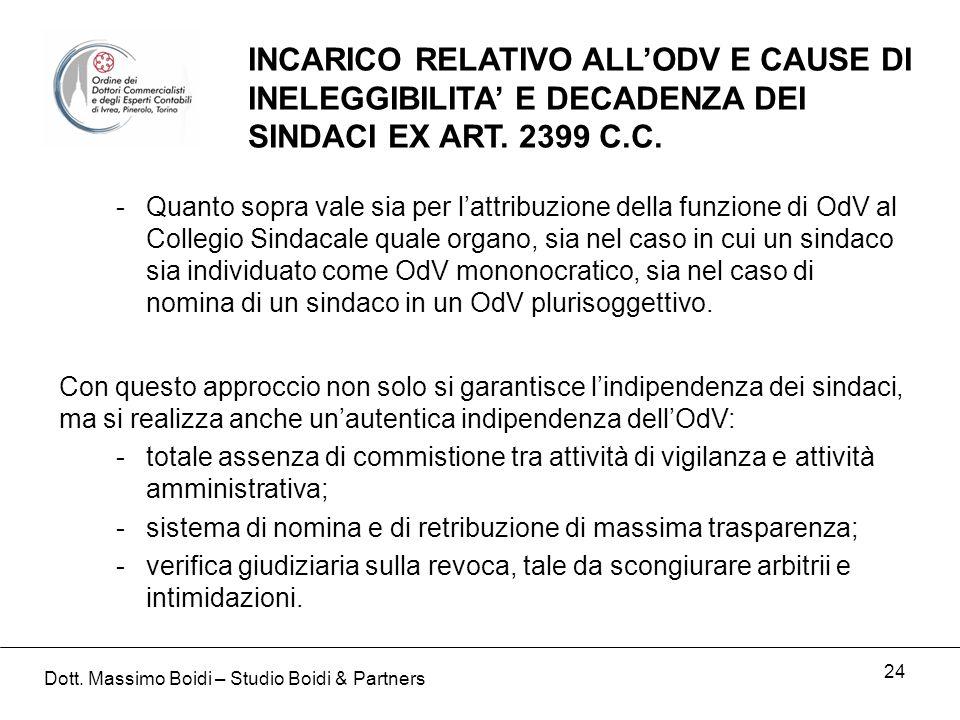 24 INCARICO RELATIVO ALLODV E CAUSE DI INELEGGIBILITA E DECADENZA DEI SINDACI EX ART.