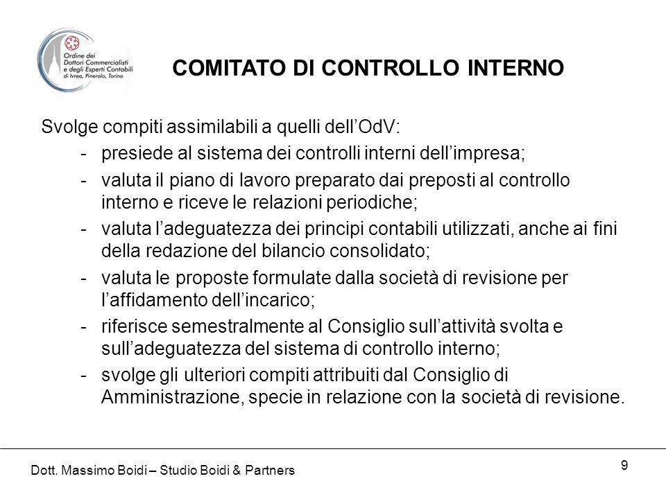 9 Svolge compiti assimilabili a quelli dellOdV: -presiede al sistema dei controlli interni dellimpresa; -valuta il piano di lavoro preparato dai prepo