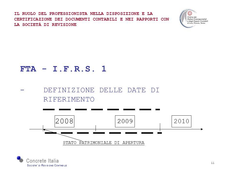 11 FTA - I.F.R.S. 1 - DEFINIZIONE DELLE DATE DI RIFERIMENTO IL RUOLO DEL PROFESSIONISTA NELLA DISPOSIZIONE E LA CERTIFICAZIONE DEI DOCUMENTI CONTABILI