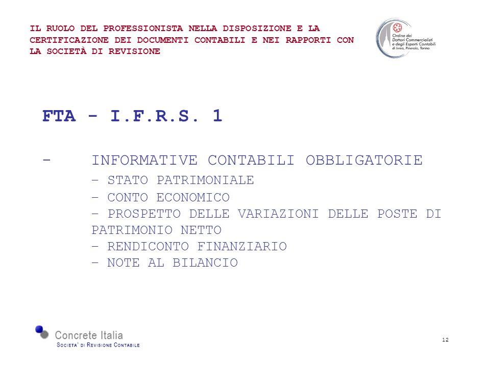 12 FTA - I.F.R.S. 1 - INFORMATIVE CONTABILI OBBLIGATORIE – STATO PATRIMONIALE – CONTO ECONOMICO – PROSPETTO DELLE VARIAZIONI DELLE POSTE DI PATRIMONIO