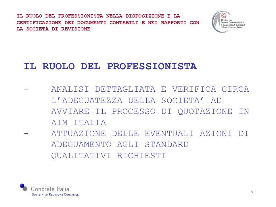 4 IL RUOLO DEL PROFESSIONISTA - ANALISI DETTAGLIATA E VERIFICA CIRCA LADEGUATEZZA DELLA SOCIETA AD AVVIARE IL PROCESSO DI QUOTAZIONE IN AIM ITALIA - ATTUAZIONE DELLE EVENTUALI AZIONI DI ADEGUAMENTO AGLI STANDARD QUALITATIVI RICHIESTI IL RUOLO DEL PROFESSIONISTA NELLA DISPOSIZIONE E LA CERTIFICAZIONE DEI DOCUMENTI CONTABILI E NEI RAPPORTI CON LA SOCIETÀ DI REVISIONE
