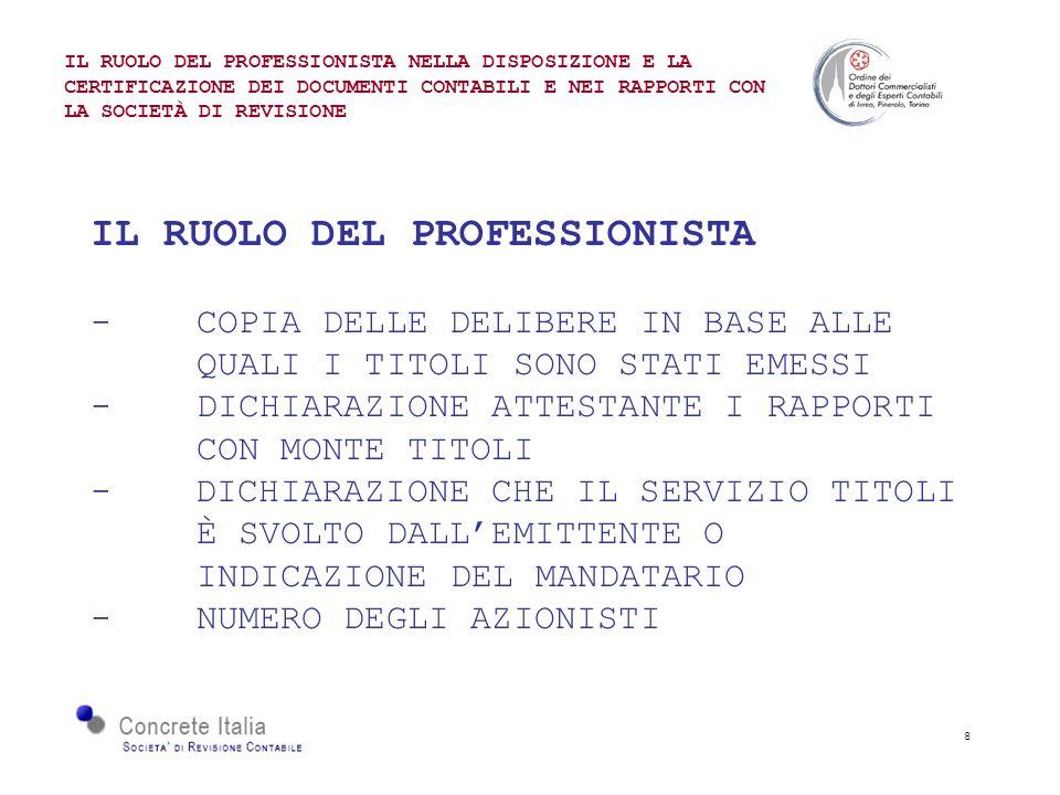 8 IL RUOLO DEL PROFESSIONISTA -COPIA DELLE DELIBERE IN BASE ALLE QUALI I TITOLI SONO STATI EMESSI -DICHIARAZIONE ATTESTANTE I RAPPORTI CON MONTE TITOL