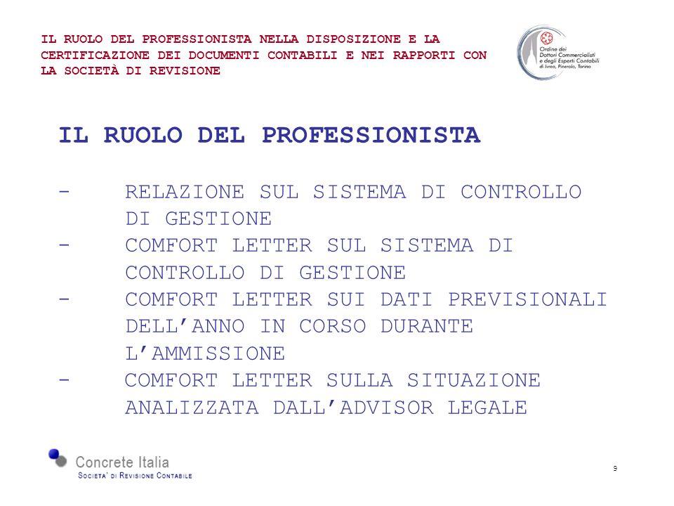 9 IL RUOLO DEL PROFESSIONISTA -RELAZIONE SUL SISTEMA DI CONTROLLO DI GESTIONE -COMFORT LETTER SUL SISTEMA DI CONTROLLO DI GESTIONE - COMFORT LETTER SUI DATI PREVISIONALI DELLANNO IN CORSO DURANTE LAMMISSIONE - COMFORT LETTER SULLA SITUAZIONE ANALIZZATA DALLADVISOR LEGALE IL RUOLO DEL PROFESSIONISTA NELLA DISPOSIZIONE E LA CERTIFICAZIONE DEI DOCUMENTI CONTABILI E NEI RAPPORTI CON LA SOCIETÀ DI REVISIONE