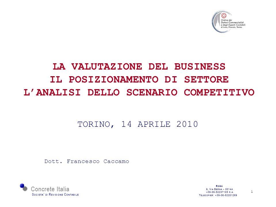 1 LA VALUTAZIONE DEL BUSINESS IL POSIZIONAMENTO DI SETTORE LANALISI DELLO SCENARIO COMPETITIVO TORINO, 14 APRILE 2010 Dott.