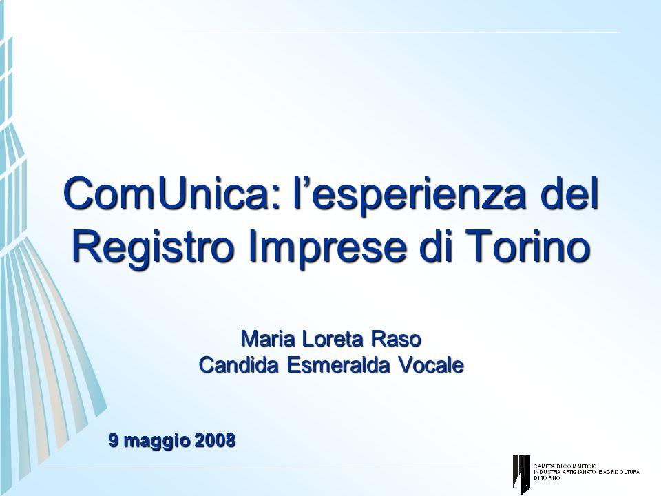 ComUnica: lesperienza del Registro Imprese di Torino Maria Loreta Raso Candida Esmeralda Vocale 9 maggio 2008