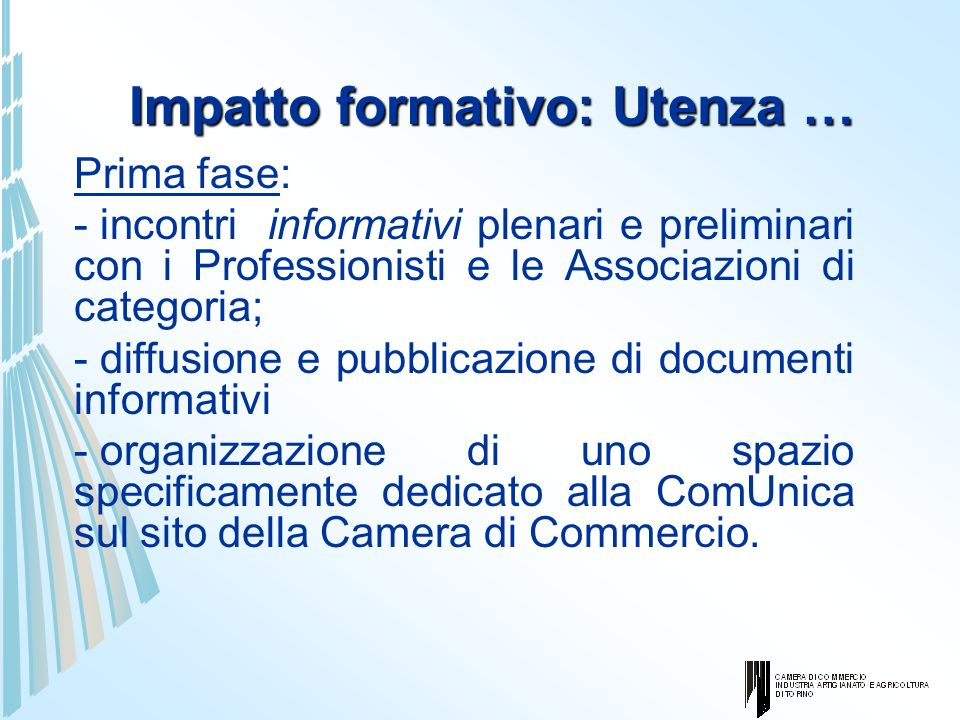 Impatto formativo: Utenza … Prima fase: - incontri informativi plenari e preliminari con i Professionisti e le Associazioni di categoria; - diffusione