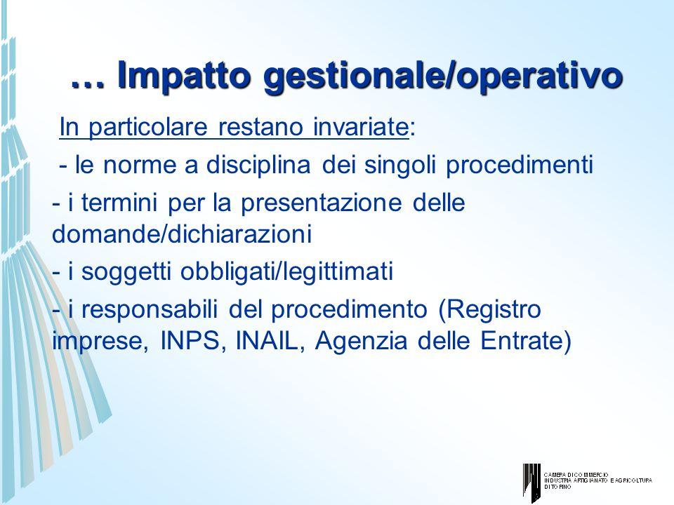 … Impatto gestionale/operativo In particolare restano invariate: - le norme a disciplina dei singoli procedimenti - i termini per la presentazione del
