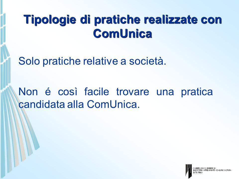 Tipologie di pratiche realizzate con ComUnica Solo pratiche relative a società. Non é così facile trovare una pratica candidata alla ComUnica.
