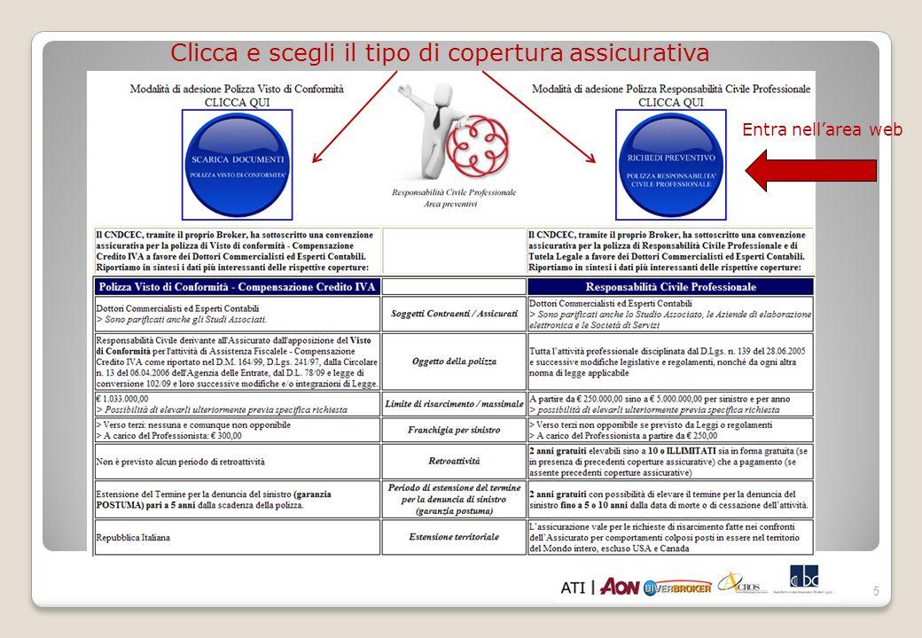 5 Clicca e scegli il tipo di copertura assicurativa Entra nellarea web