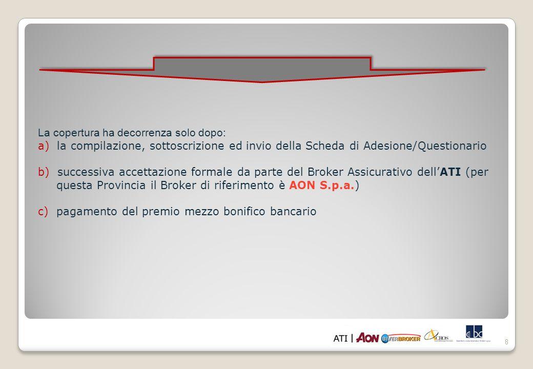 8 La copertura ha decorrenza solo dopo: a) la compilazione, sottoscrizione ed invio della Scheda di Adesione/Questionario b) successiva accettazione f