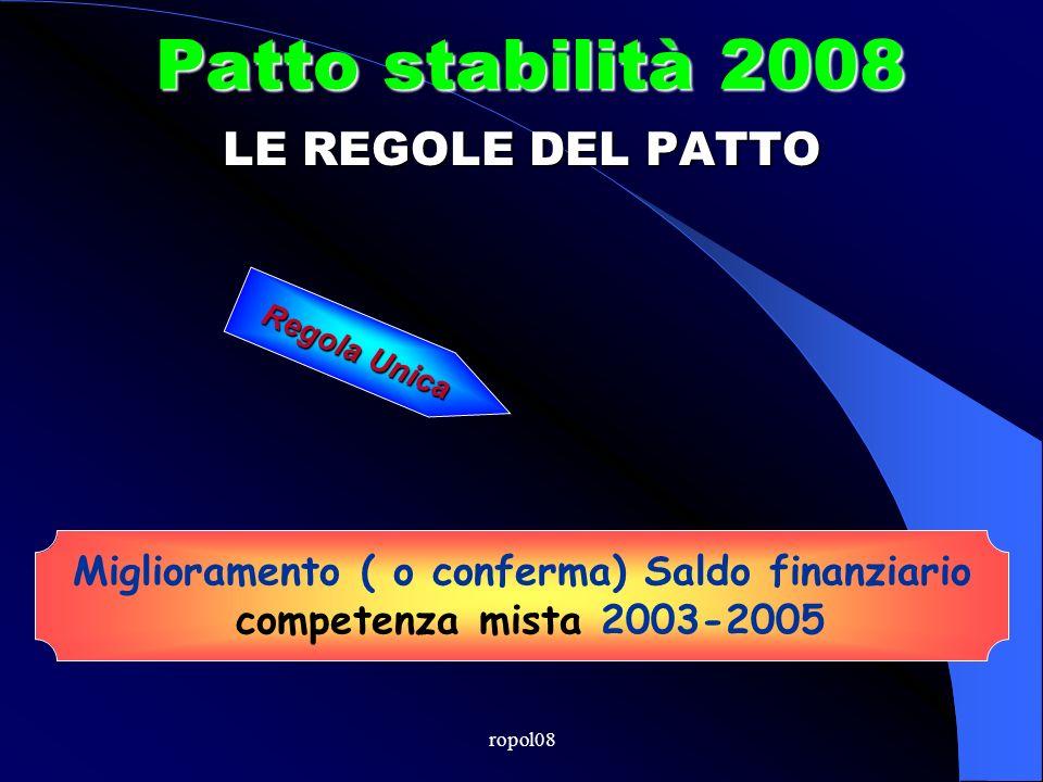 ropol08 Patto stabilità 2008 Miglioramento ( o conferma) Saldo finanziario competenza mista 2003-2005 LE REGOLE DEL PATTO Regola Unica