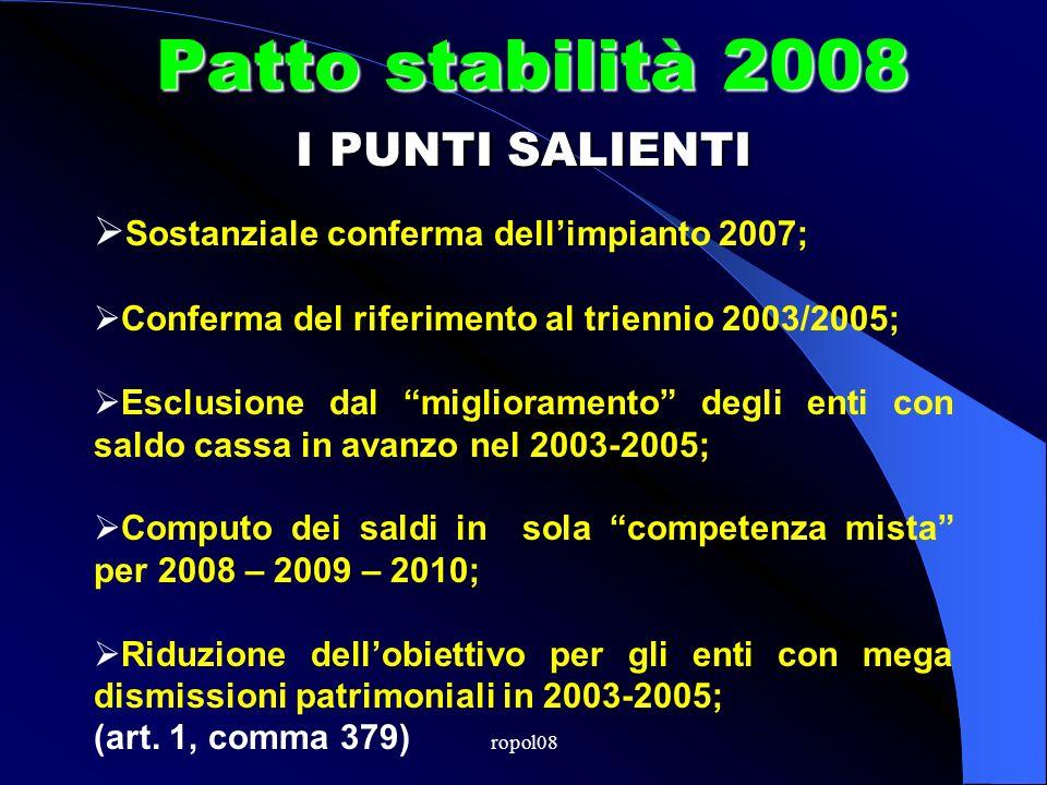 ropol08 Patto stabilità 2008 Tutto confermato.