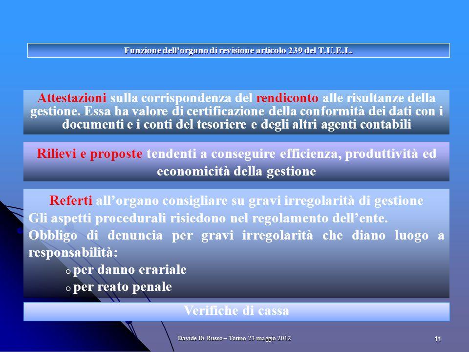 11 Funzione dellorgano di revisione articolo 239 del T.U.E.L.