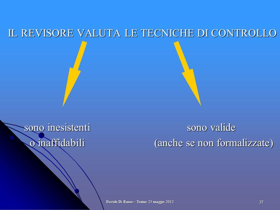 37 IL REVISORE VALUTA LE TECNICHE DI CONTROLLO sono inesistenti sono valide sono inesistenti sono valide o inaffidabili (anche se non formalizzate) o inaffidabili (anche se non formalizzate) Davide Di Russo – Torino 23 maggio 2012
