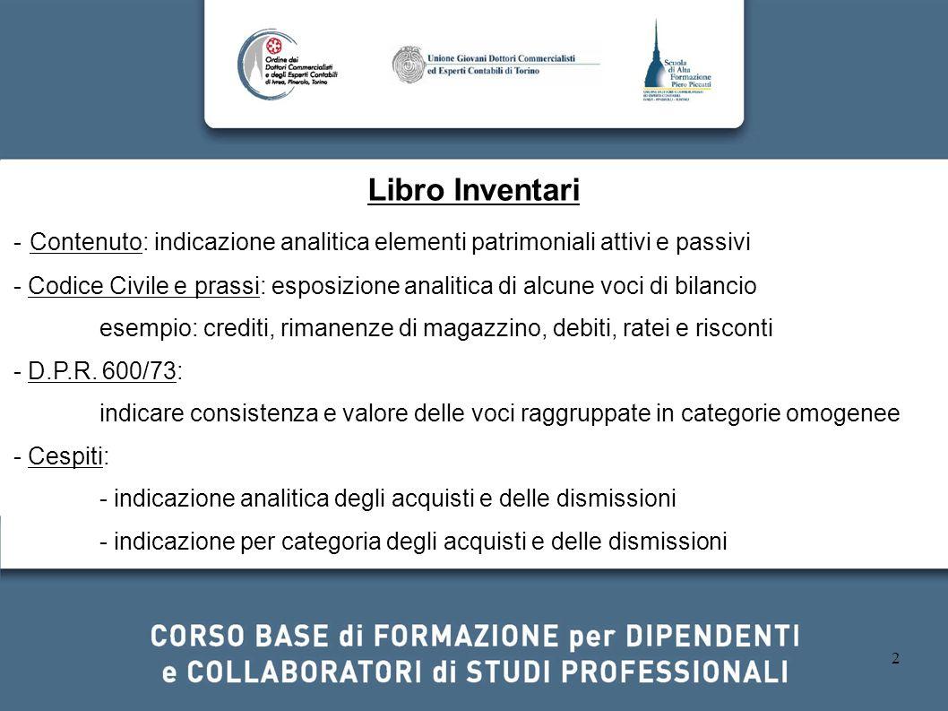2 Libro Inventari - Contenuto: indicazione analitica elementi patrimoniali attivi e passivi - Codice Civile e prassi: esposizione analitica di alcune