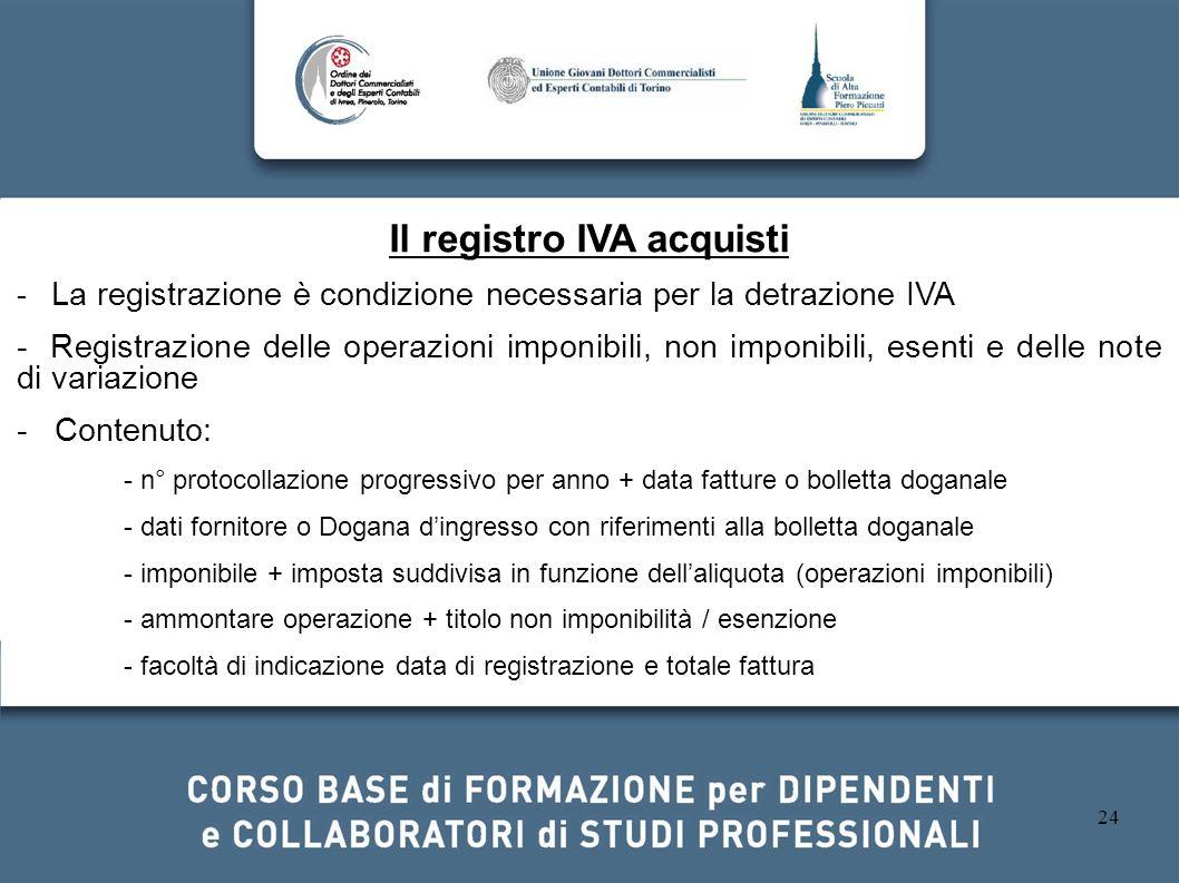 24 Il registro IVA acquisti - La registrazione è condizione necessaria per la detrazione IVA - Registrazione delle operazioni imponibili, non imponibi