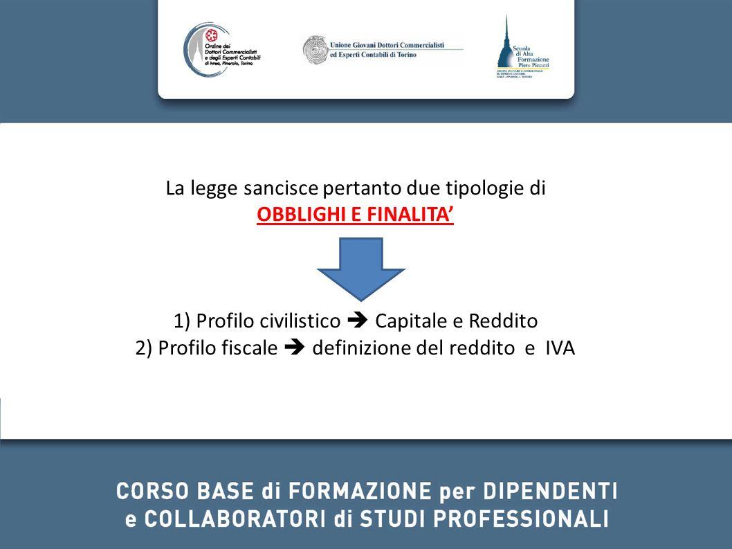 La legge sancisce pertanto due tipologie di OBBLIGHI E FINALITA 1) Profilo civilistico Capitale e Reddito 2) Profilo fiscale definizione del reddito e