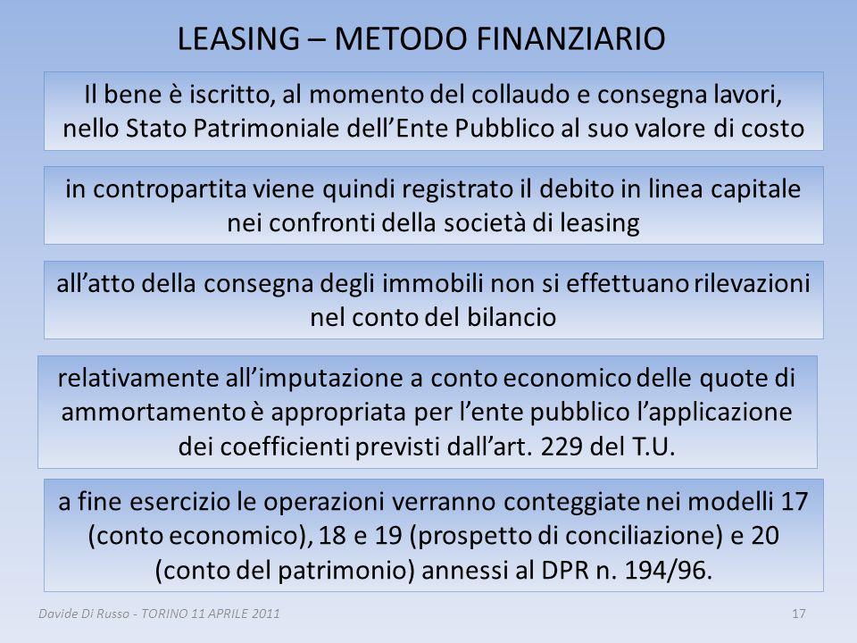 LEASING – METODO FINANZIARIO 17 Il bene è iscritto, al momento del collaudo e consegna lavori, nello Stato Patrimoniale dellEnte Pubblico al suo valor