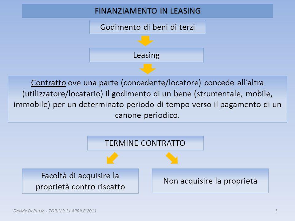 3 FINANZIAMENTO IN LEASING Godimento di beni di terzi Leasing Contratto ove una parte (concedente/locatore) concede allaltra (utilizzatore/locatario)