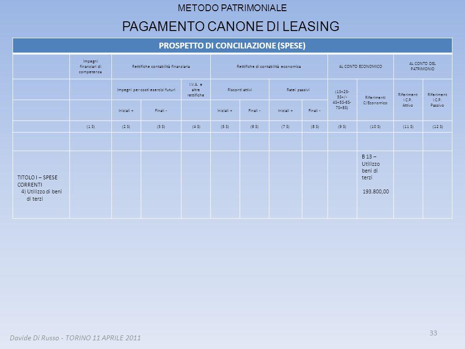 33 METODO PATRIMONIALE PAGAMENTO CANONE DI LEASING PROSPETTO DI CONCILIAZIONE (SPESE) Impegni finanziari di competenza Rettifiche contabilità finanzia