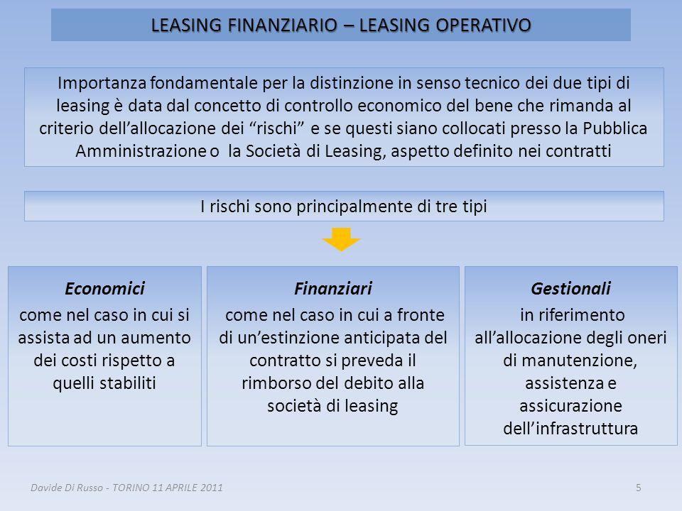 LEASING FINANZIARIO – LEASING OPERATIVO 5 Importanza fondamentale per la distinzione in senso tecnico dei due tipi di leasing è data dal concetto di c