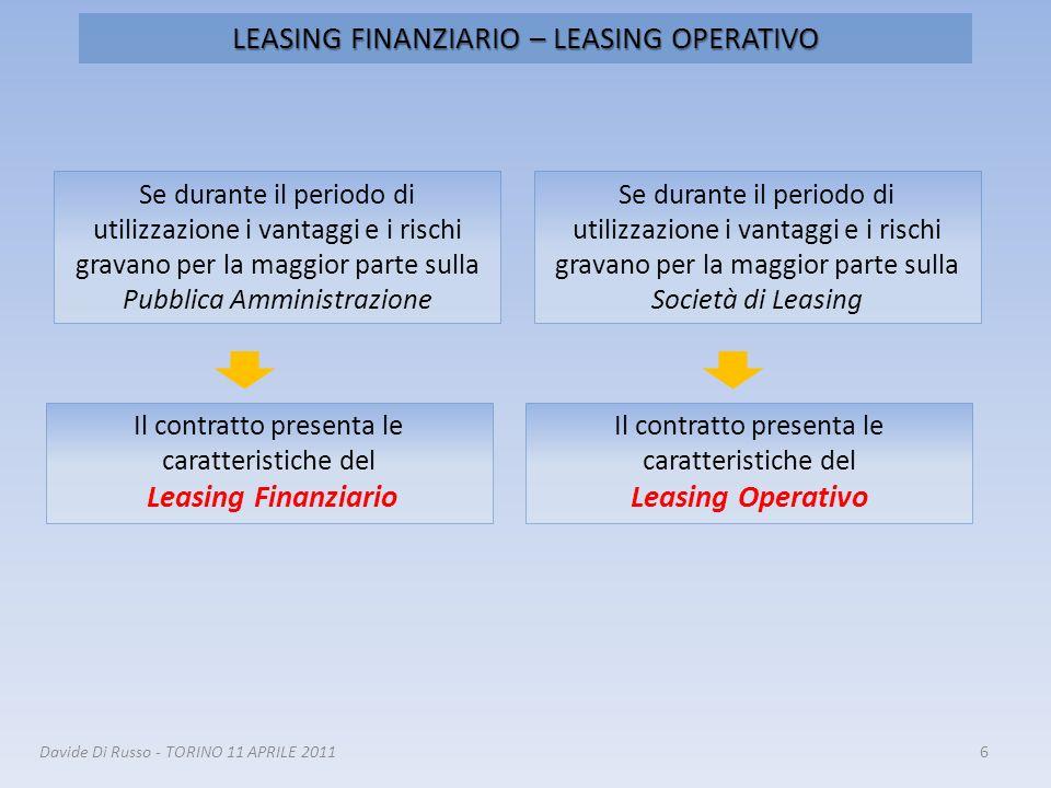 LEASING FINANZIARIO – LEASING OPERATIVO 6 Se durante il periodo di utilizzazione i vantaggi e i rischi gravano per la maggior parte sulla Società di L