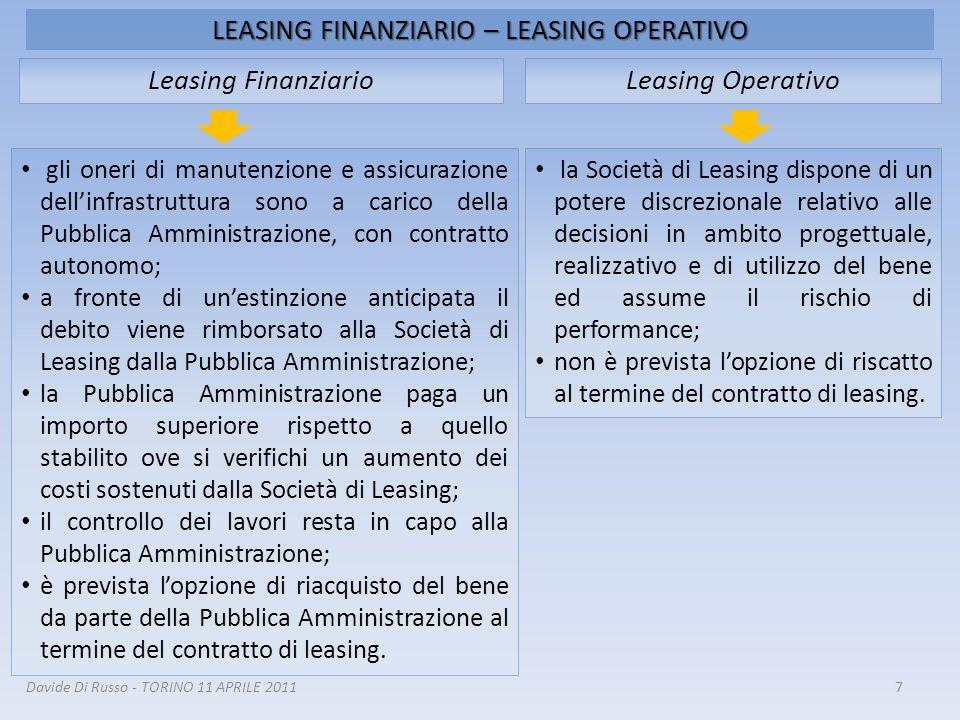 LEASING FINANZIARIO – LEASING OPERATIVO 7 Leasing OperativoLeasing Finanziario la Società di Leasing dispone di un potere discrezionale relativo alle