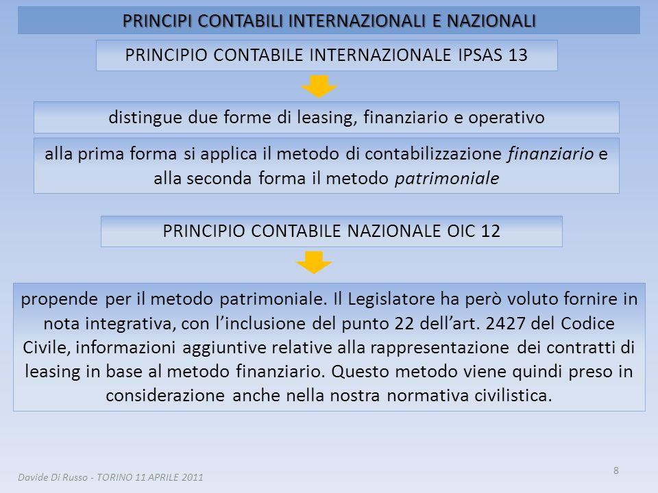 PRINCIPI CONTABILI INTERNAZIONALI E NAZIONALI 8 distingue due forme di leasing, finanziario e operativo PRINCIPIO CONTABILE INTERNAZIONALE IPSAS 13 Da