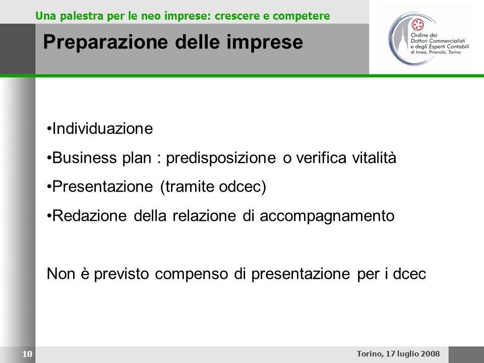 Una palestra per le neo imprese: crescere e competere Preparazione delle imprese Torino, 17 luglio 2008 10 Individuazione Business plan : predisposizi