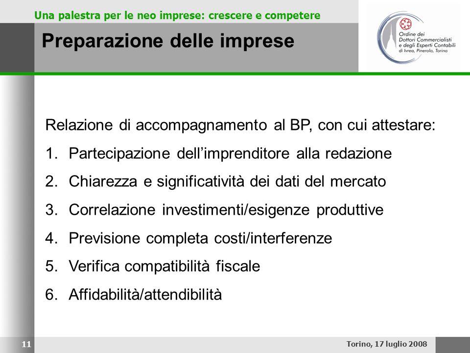 Una palestra per le neo imprese: crescere e competere Preparazione delle imprese Torino, 17 luglio 2008 11 Relazione di accompagnamento al BP, con cui