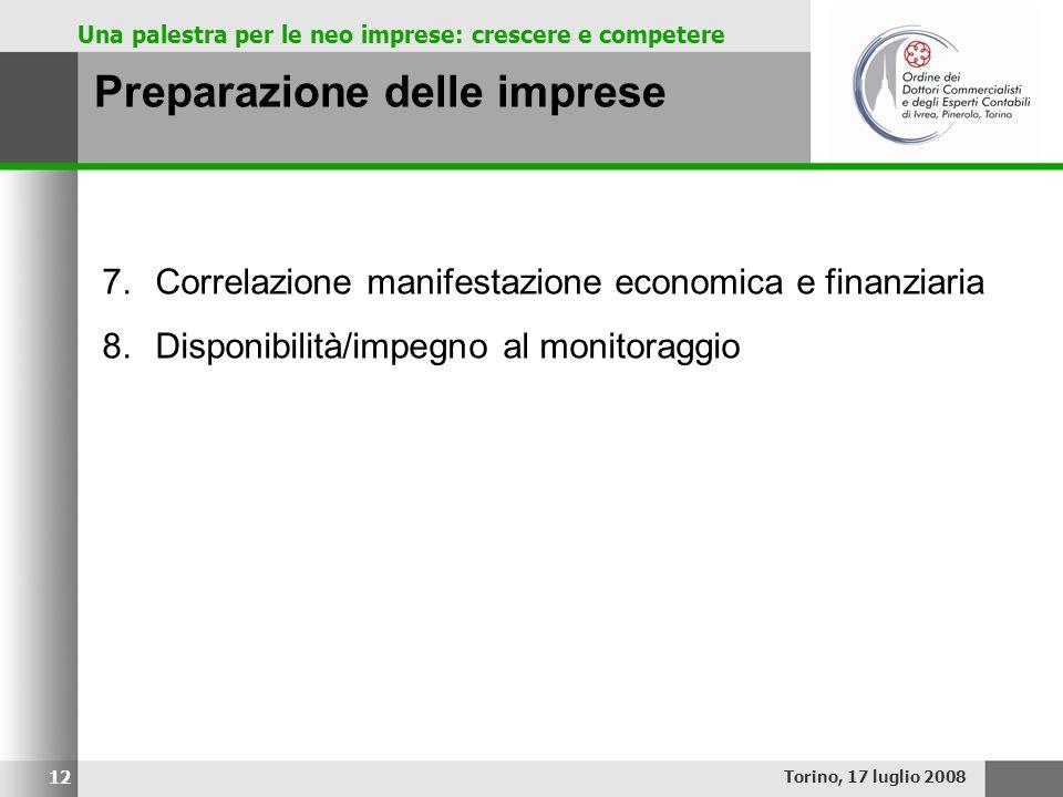 Una palestra per le neo imprese: crescere e competere Preparazione delle imprese Torino, 17 luglio 2008 12 7.Correlazione manifestazione economica e f