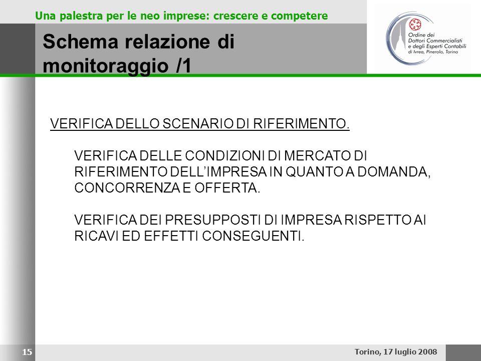 Una palestra per le neo imprese: crescere e competere Schema relazione di monitoraggio /1 Torino, 17 luglio 2008 15 VERIFICA DELLO SCENARIO DI RIFERIM