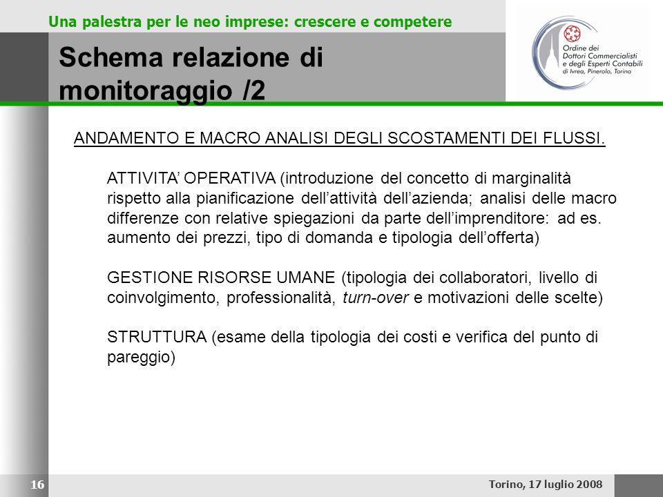 Una palestra per le neo imprese: crescere e competere Schema relazione di monitoraggio /2 Torino, 17 luglio 2008 16 ANDAMENTO E MACRO ANALISI DEGLI SC