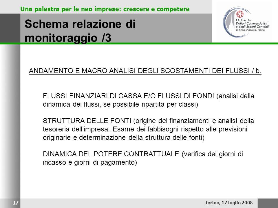 Una palestra per le neo imprese: crescere e competere Schema relazione di monitoraggio /3 Torino, 17 luglio 2008 17 ANDAMENTO E MACRO ANALISI DEGLI SC